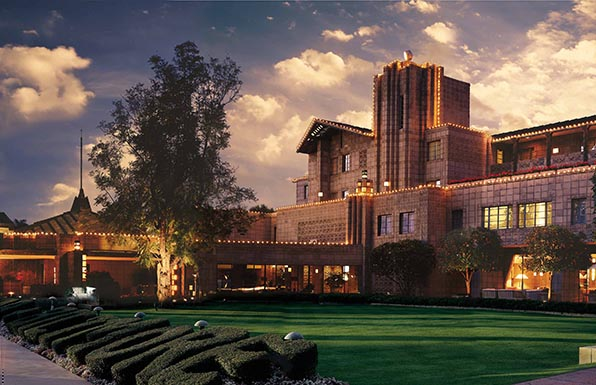 Impressive lines and concrete block construction reflect the influence of Frank Lloyd Wright. Photo: Waldorf Astoria Hotels and Resorts