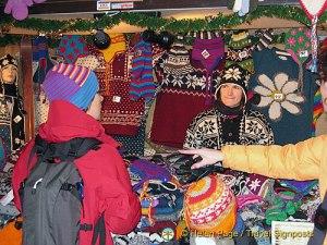 Woollen hats stall - very popular