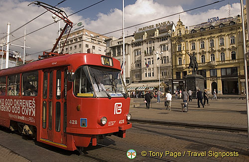 Trams in Jelacic Square, Zagreb