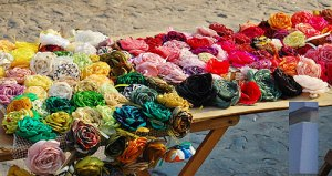 Colourful cloth flowers