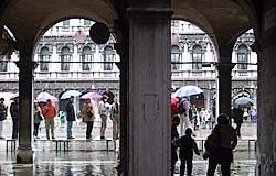 "Street Flooding, ""high water"" in Piazza San Marco, Venice"