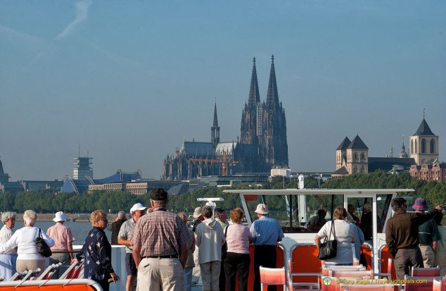 Cologne cathedral's twin spires seen from the Rhine