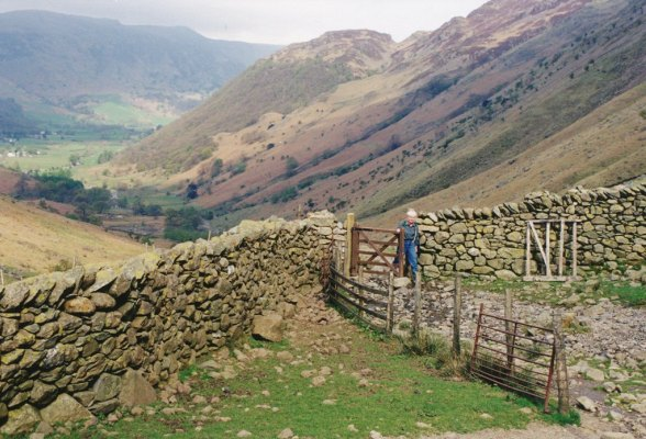 Stone walls near Greenup Gill, Lake District