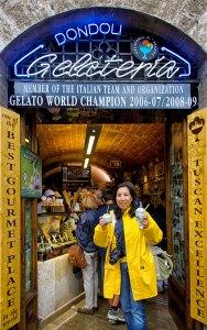 Ice-cream at San Gimignano, even in the rain