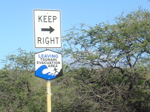 Tsunami Evacuation Area Hawaii Sign