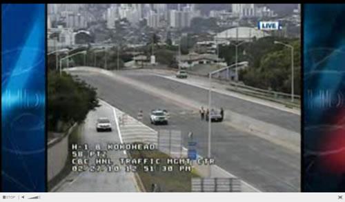 Verkehr in Hawaii während dem Tsunami