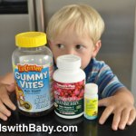 My toddler eyes the vitamin bottles he scaled the kitchen counter and shelves to retrieve www.travelswithbaby.com
