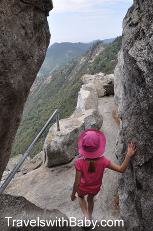Kid stops to enjoy the view from Moro Rock trail