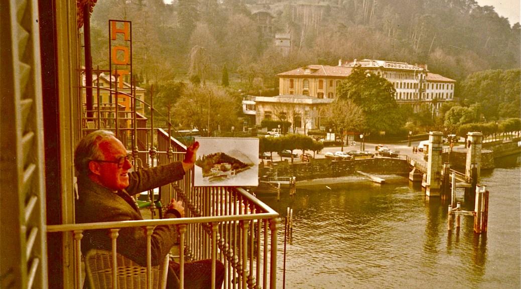 The Artist, Noel Jackson painting on Lake Como