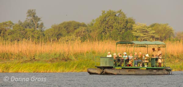 Floating along the Zambezi River in Zimbabwe (Imbabala Safari Lodge)