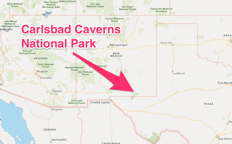 map to carlsbad caverns