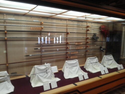 Swords on display inside Matsuyama Castle