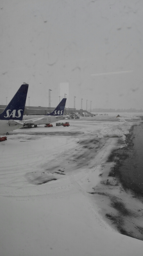 Snow at Gardermoen Airport