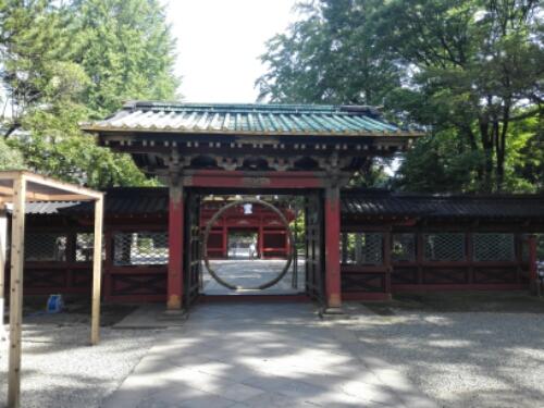 A circular gate at Nezu Shrine
