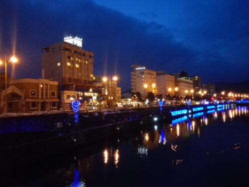 The canal in Otaru by night