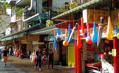Store fronts in Tamsui, Taiwan