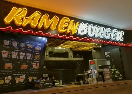 Ramen Burger at Maidan in Kyiv, Ukraine