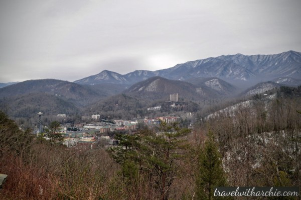 Gatlinburg from the Smokies - The view we managed to click while driving through the Park