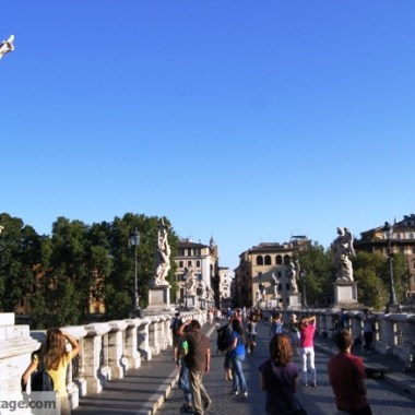 The Angelo bridge is right in front of the castle of the same name.