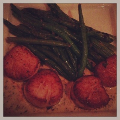 I had the most amazing scallops on our date night! They were perfectly seared, with a side of grilled asparagus and green beans!