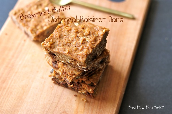 Browned-Butter Oatmeal Raisinet Bars