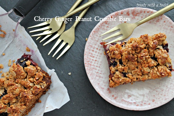 Cherry Ginger Peanut Crumble Bars