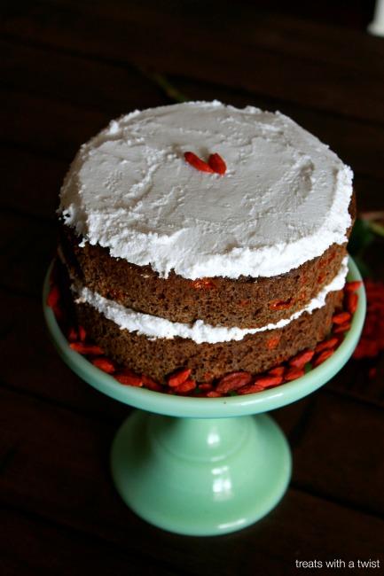 Matcha Goji Cake with Coconut Cream Frosting // treatswithatwist.com