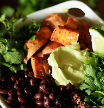 Roasted Sweet Potato and Black Bean Quinoa Bowls with Avocado Lime Crema // treatswithatwist.com