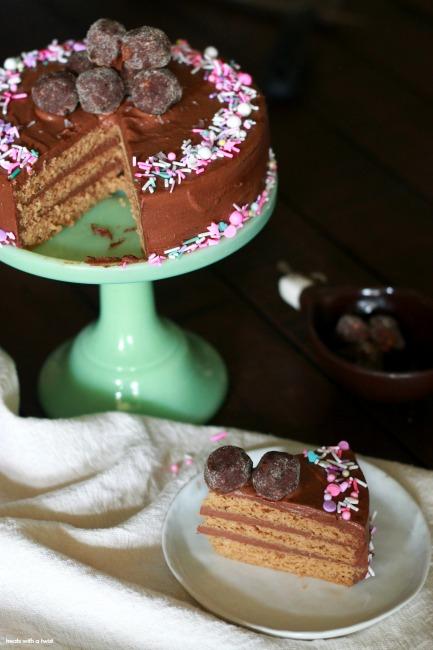 Cardamom Cake with Cacao Fudge Frosting // gluten free // treatswithatwist.com
