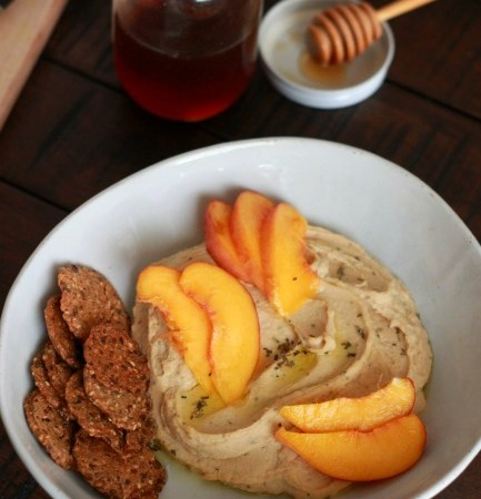 Lemon Basil Hummus with Peaches and Honey // treatswithatwist.com