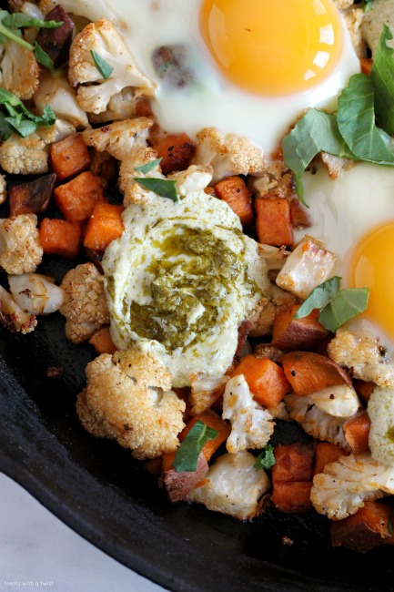 Sweet Potato Cauliflower Egg Skillet with Yogurt Pesto ...