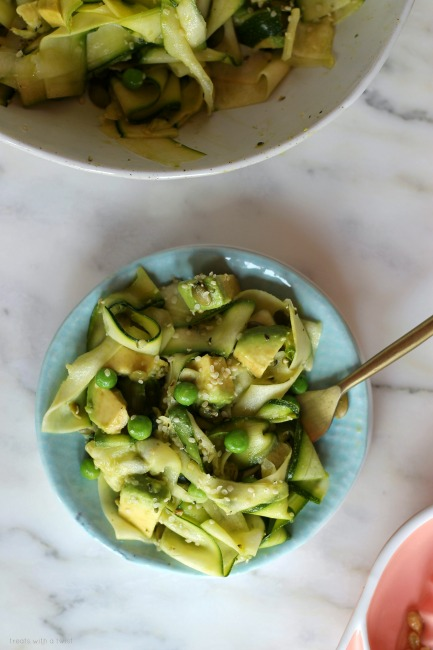 Shaved Zucchini and Spring Pea Salad // gluten free, vegan // treatswithatwist.com