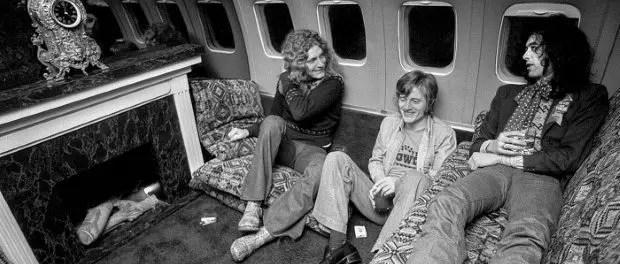 Led Zeppelin en-route, to Detroit, January, 1975 ©Michael Brennan