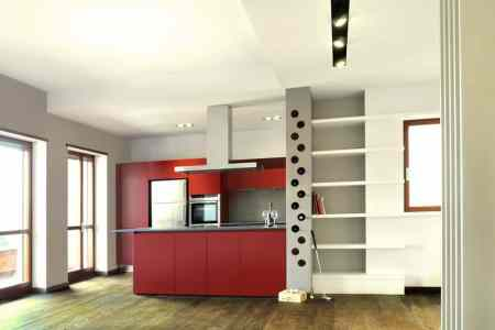 vint colour suspended ceilings define modern apartment italy 1 kitchen