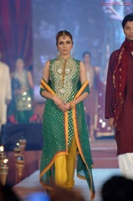 bottle green bridal mehndi wear dress