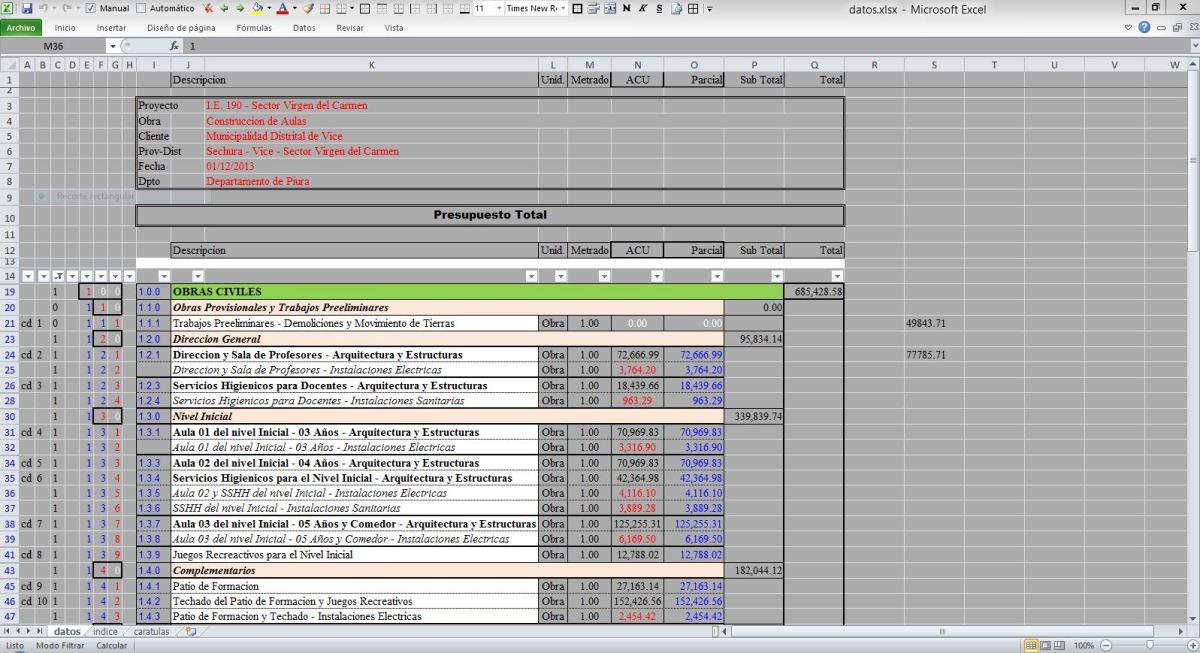 Presupuesto de obra en Excel | Modelo de Presupuesto