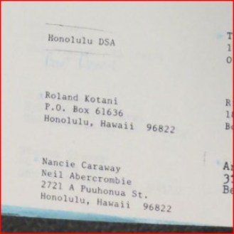 Honolulu DSA membership list, early '80s