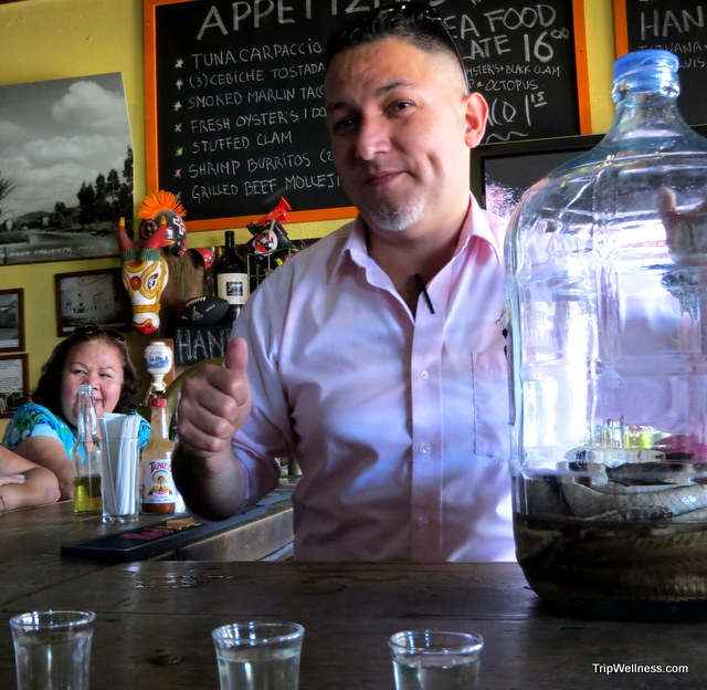 The rattlesnake tequila at  El Museo. Day Trip Tijuana. Trip Wellness