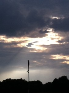 sun's rays peaking through the clouds