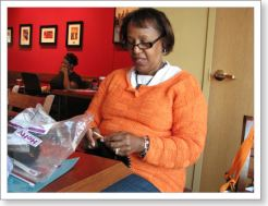 We're so happy that Yvonne joined us again! Here she is wearing an absolutely yummy orange sweater she made.