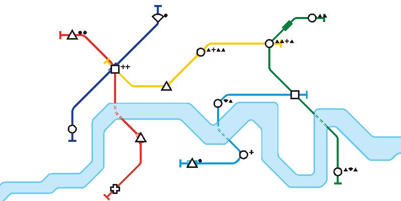 "Screenshot from the game ""Mini Metro"""