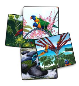 birds 4 pack of drink coasters