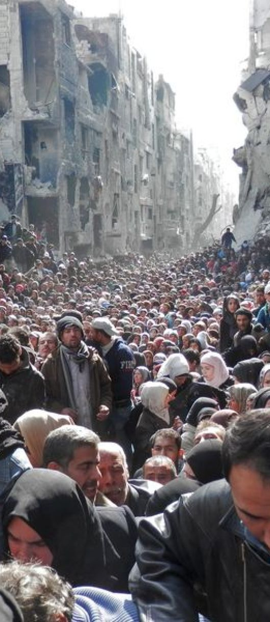 Palestinian refugees in Damascus at Yarmouk camp, 2014