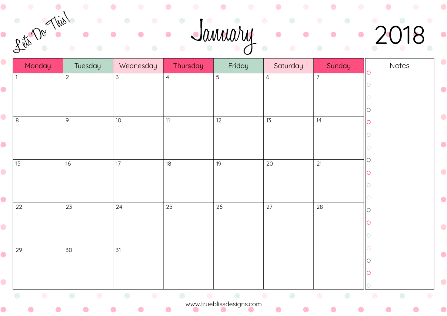 2018 Monthly Printable Calendar - Let