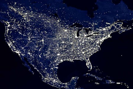 a nighttime view of the continental u.s. cities, and towns