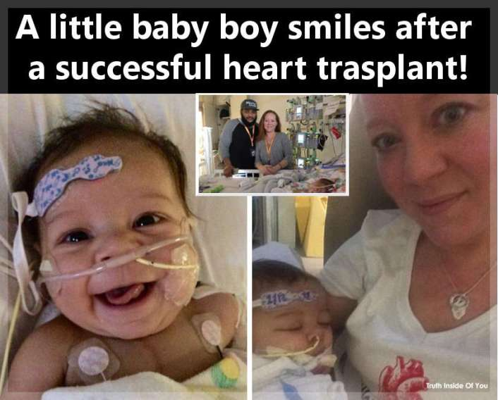 A little baby boy smiles after a successful heart trasplant!
