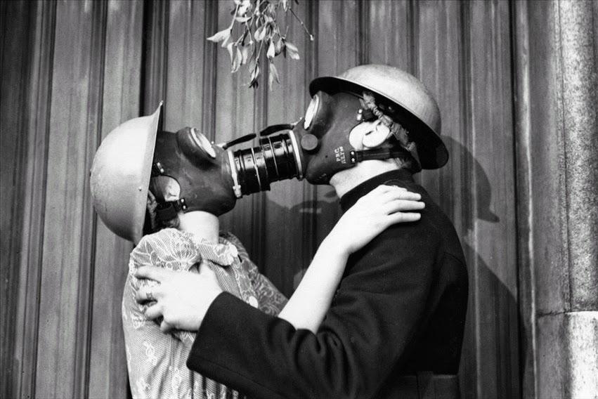 Gas Mask Kiss, London December 1940