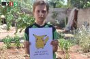 The touching photos of children from Syria with Pokemon Go characters.