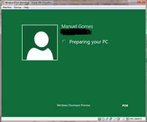 Windows 8 First Boot under VirtualBox