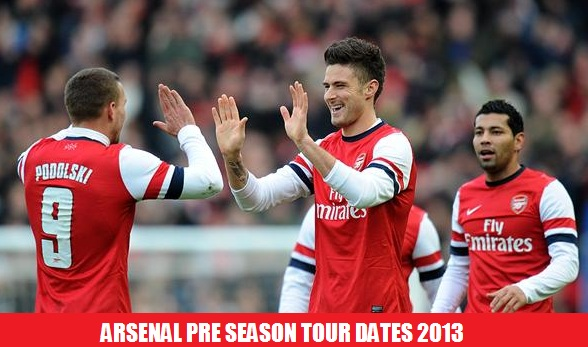 Arsenal Pre Season matches Dates 2013